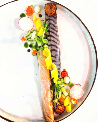 Marinated mackerel with pickled vegetables