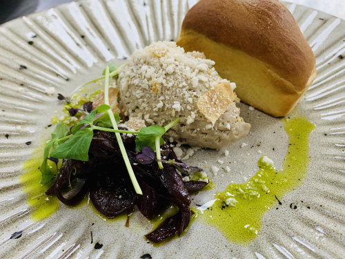 Chicken liver parfait, red onion jam , mini brioche , chicken skin crumble