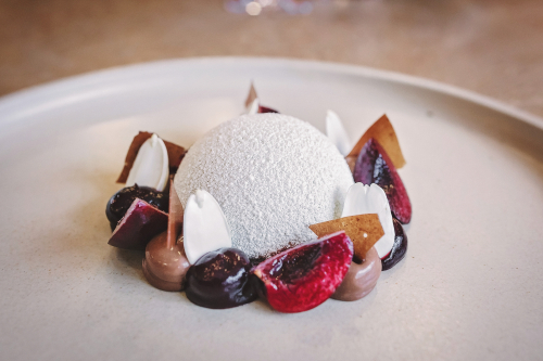Tonka bean parfait, cherry, manjari chocolate, fresh almonds