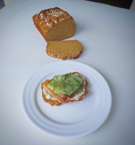 Homemade series: treacle bread, Irish smoked salmon, lemon cream cheese, cucumber and chive salad.