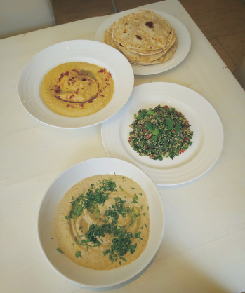 Homemade series: hummus, taboule, baba ganoush, flatbread