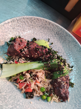 Soy Marinated Beef Onglet, Stir Fried Rice, Steamed Pak Choi