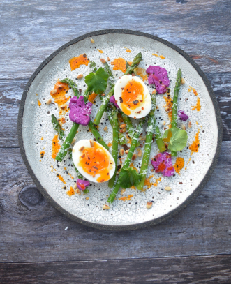 Asparagus, Eggs, Cauliflower Fermented in Beets, Parmesan, Chilli,