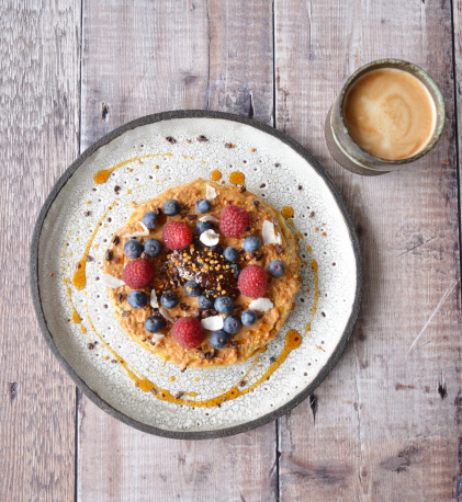 Oat Pancake, Peanut Butter, Berries, Fig and Lavender Conserve, Honey
