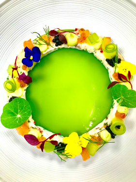 Crab salad, cucumber jelly