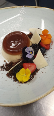Caramel Panna Cotta, Chocolate Shards, Crumb, Fresh fruit