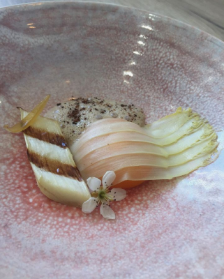 Barbecued White Asparagus, brown butter confit egg yolk and buckwheat emulsion