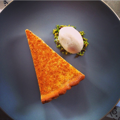 Duck egg custard tart , gingerbread ice cream