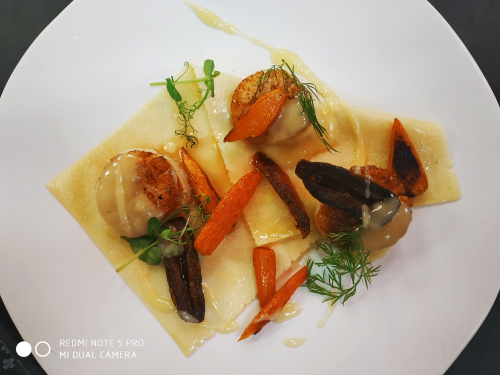 naked ravioli with scallops, carrots, dates and brown butter