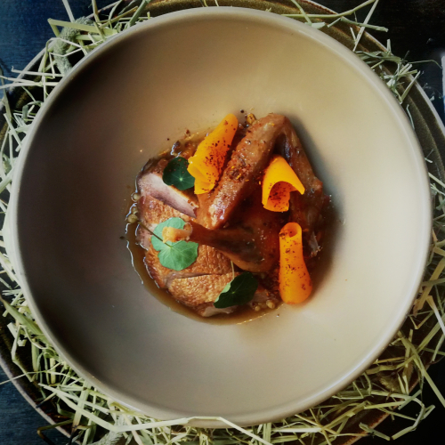 Hay roasted wild duck and pumpkin