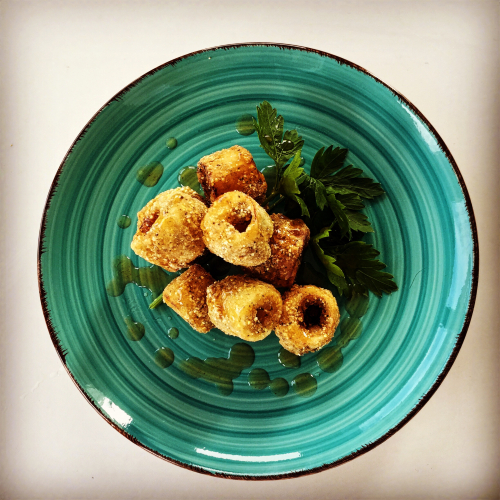 "Hearts of Palm ""calamari"" with spicy pineapple chili glaze #vegan"