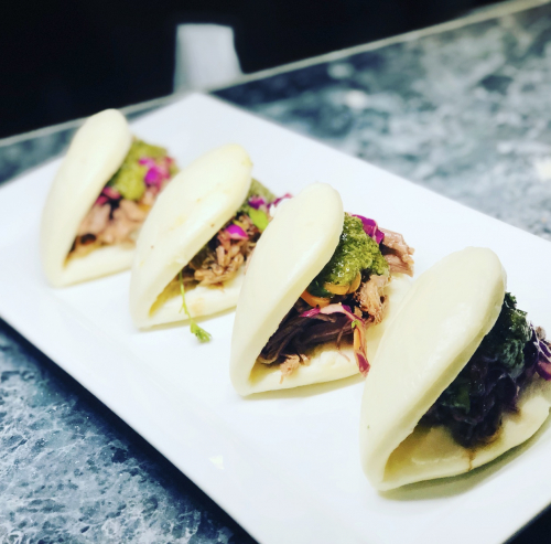 Braised Brisket Steam Buns with Asian Slaw & Chimichurri.