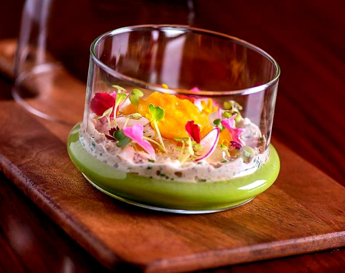Sweet pea Panna cotta/ Crab salad/ Peach dashi Sorbet/ Lemon gel/ Microgreens