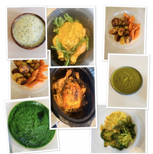 Fusion Sunday roast  Wild Garlic and Lemingrass marinade chicken / Cumin roast carrots /turmeric roast potatoes /corridor mash /wild garlic chicken sauce