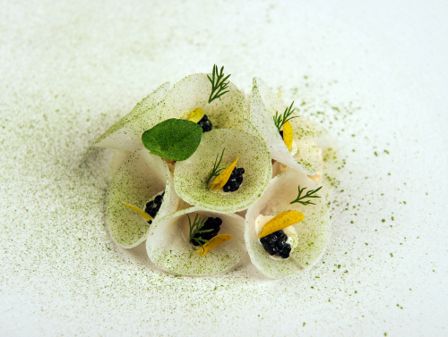 Scottish brown crab, mooli dressed in a chervil and tarragon vinaigrette, caviar and gorse flowers.