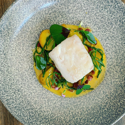 Cornish Hake, Jersey Royals and Cheshire Saffron.