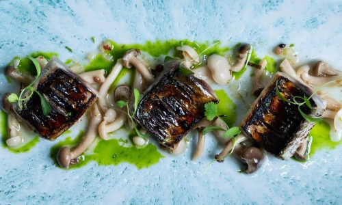 Mackerel Alimados with pickled Shamiji mushrooms and herb oil