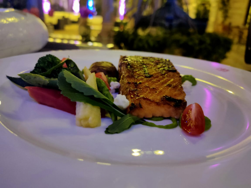 BBQ Salmon steak with veg, microgreens& feta cheese report from @imchefgovinda_k.c