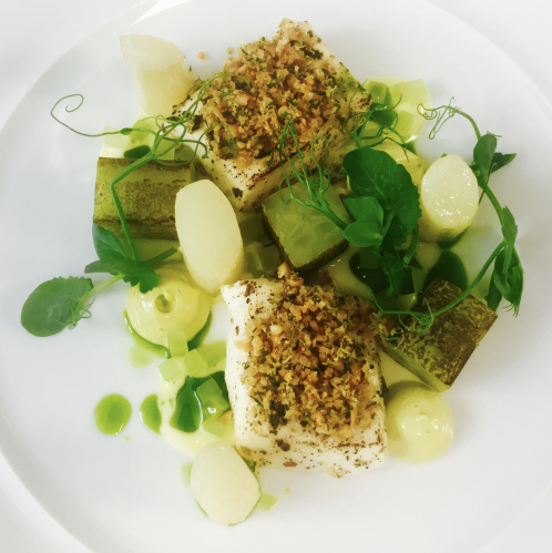 Seaweed butter poached halibut, crispy chicken skin, pine nut crumb, oyster mayonnaise, roasted cucumber, buttermilk vinaigrette & dill