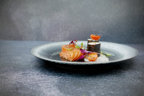 Soy cured salmon, tomato, smoked roe