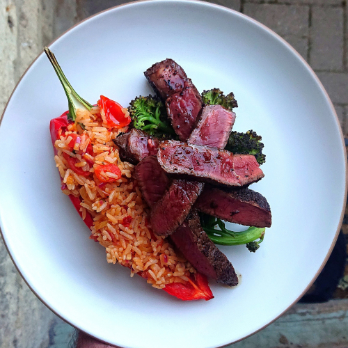 Coffee & Naga rubbed Rump, Spiced Fermented Cabbage, Chipotle & Tomato Rice, Roasted Red Pepper, Purple Sprouting Broccoli, Spicy Brown Butter.