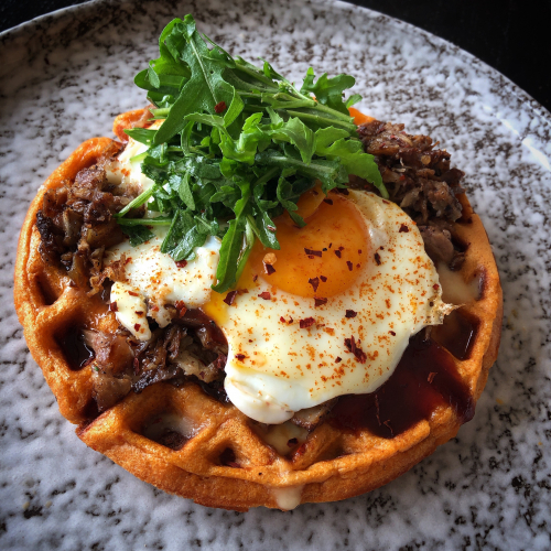 Pulled Pork/Szechuan Waffle/Sweet and Sour BBQ Sauce/Chilli Butter Fried Egg