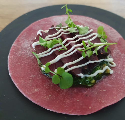 Beetroot Taco, Smoked Grouse, Hairy Bittercress