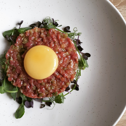 Lamb tartare with confit yolk