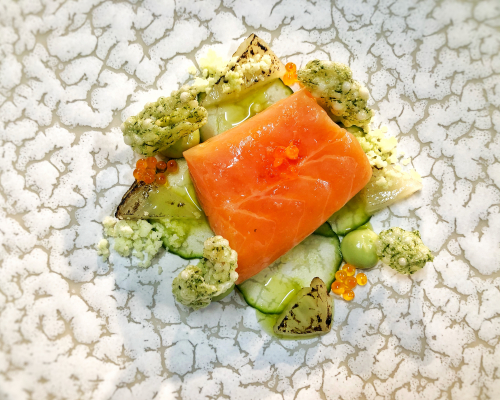 Cured salmon, compressed cucumber, confit fennel, avocado purée, dill oil, keta 👌