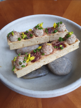 Smoked bacon waffle, duck liver mousse, dried gizzard, Preserved Cranberry