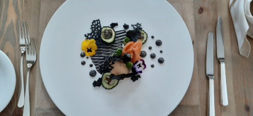 Smoked salmon and squid ink