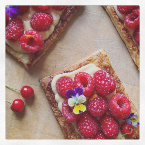 Raspberry and orange creme patisserie puff pastry tart.