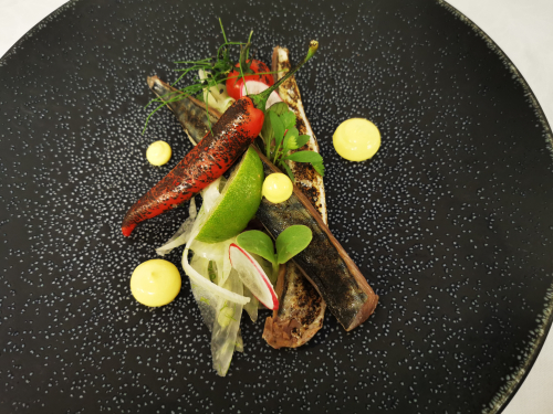 Blowtorch mackerel, fennel shavings, burnt chilli and cherry tom, aioli https://www.instagram.com/chef_cata/