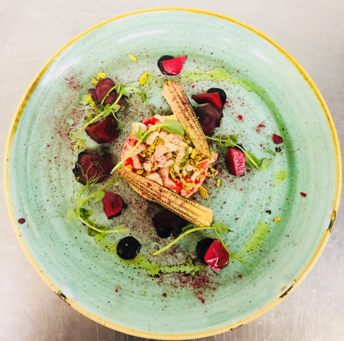 Sweet corn panna cotta ,charred baby corn,airbag potato,beetroot