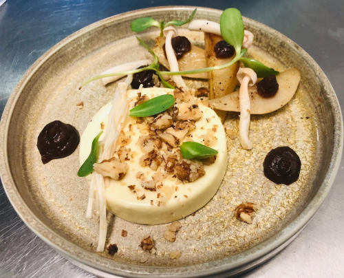 Blue cheese panna cotta,pickled mushroom, raisins puree,poached pear