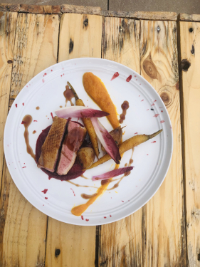 Duck breast,spiced carrots ,beetroot puree, carrot and orange puree!