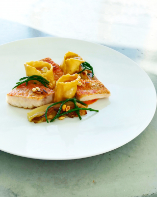 Red mullet in pinenut butter Shrimp& black garlic tortellini, Caramelized fennel Roast red pepper puree Shellfish sauce.