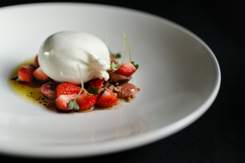 burrata / strawberry / grape / tarragon
