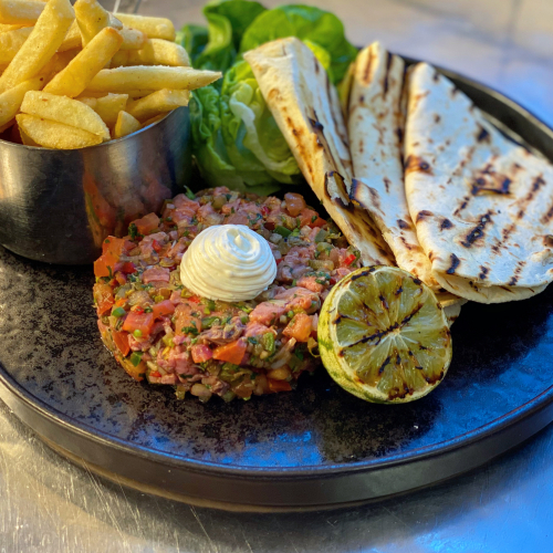 Mexican steak tartare, tacos, lime cream cheese