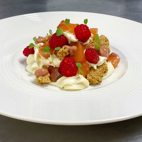 Cured salmon, raspberry & horseradish Cranachan