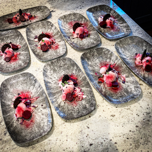 Goats cheese mousse/beetroot assiette/pickled red spring onion/charcoal & sesame biscuit