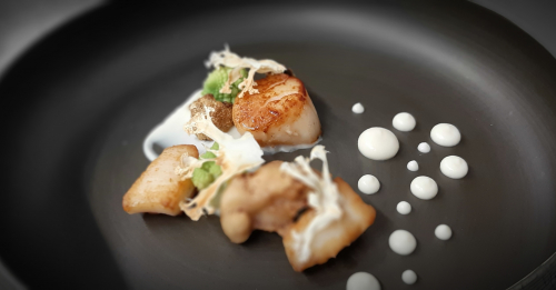 Scallop and textures if cauliflower