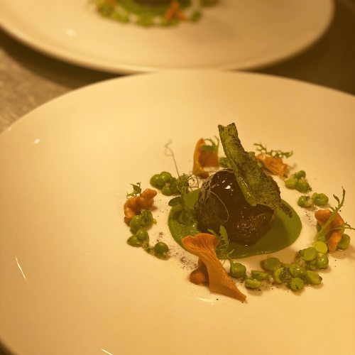 48 hour slow braised and glazed blaven beef  Pea purée, dressed pea and shallot salad, pickled lochalsh chanterelle mushrooms and a Kildonan dulse cracker