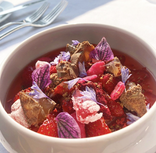 Turkish delight trifle, strawberry and rose petals