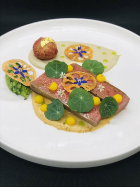 Loin of Lamb, Milk Poached Lamb Rack Fritter, Lotus Stem, Saffron Potato Pearls with Mint and Walnut Pesto, Sauce 'Gushtaba'. https://puresouth.co.uk/temanachallenge Loin of Lamb, Milk Poached Lamb Rack Fritter, Lotus Stem, Saffron Potato Pearls with Mint and Walnut Pesto, Sauce 'Gushtaba' by Saurabh Prabhakar. Please do vote if you please at the above link for #temanalambchallenge2020. Thank you.