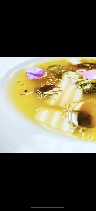 Consommé of Summer Melon Gazpacho Miniature Sour Gherkins, Basil Seeds