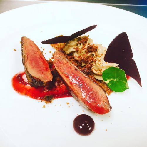 Pigeon  Seared breast, parfait , rye toast, cherry purée , gingerbread crumb, butterfly sorrel , nasturtium