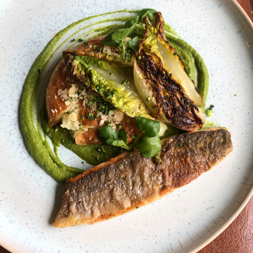Sea Bass/ Garlic Butter Roasted Smashed Jacket Potato/Charred Baby Gem Lettuce/Broccoli Hummus
