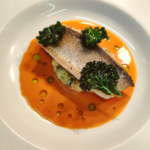 Sea Bass Fillet, Crushed Charlotte Potatoes, Kale and Arbroath Lobster Bisque