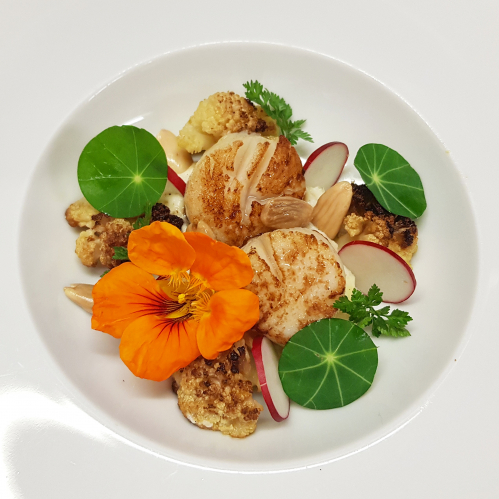 SCALLOPS • cauliflower~vanilla puree • roasted cauliflower with lemon zest & olive oil • almond • radish • nasturtium